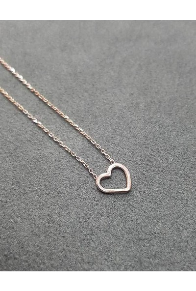 Bigakan Gümüş Kalp Kolye Minimal Kalp Detaylı Gümüş Kolye 50CM