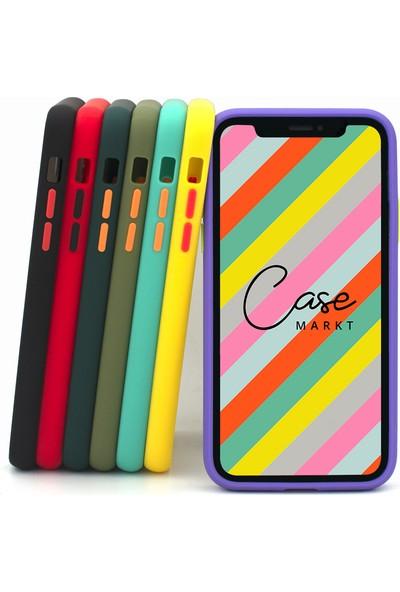 Case Markt Apple iPhone Xs Max Renkli Tuşlu & Arkası Mat Silikon Telefon Kılıfı Haki