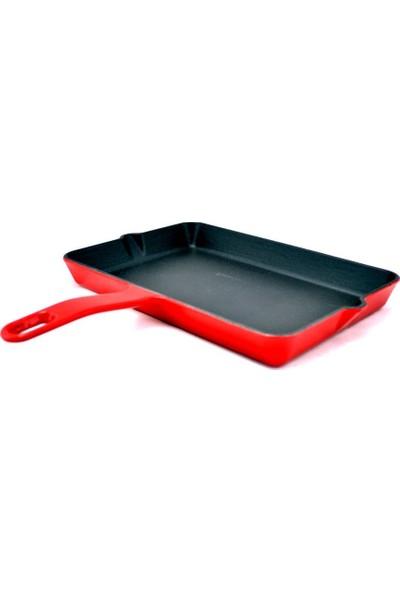 Sürel Döküm 24 x 16 cm. Mini Kare Tava Mat Emayeli Kırmızı
