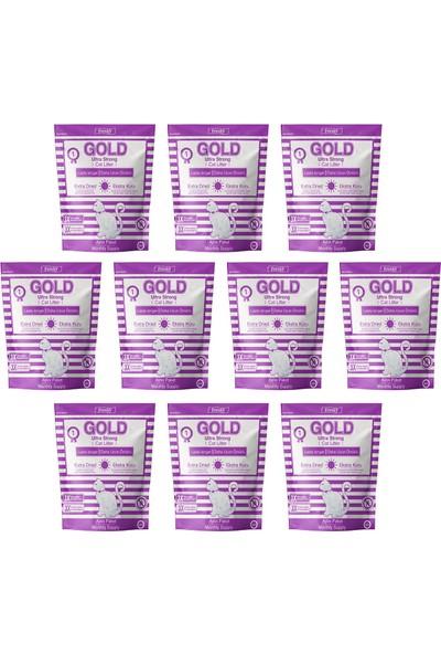 Freshy Gold Silika Kristal Kedi Kumu - 10 Aylık Set - Kalın Taneli 3,8 Litrelik - 10'lu