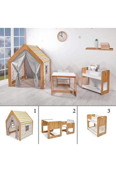Minera Kumru Model Çocuk Çalışma Oyun Masa Sandalye Kitaplık ve Oyun Evi Seti
