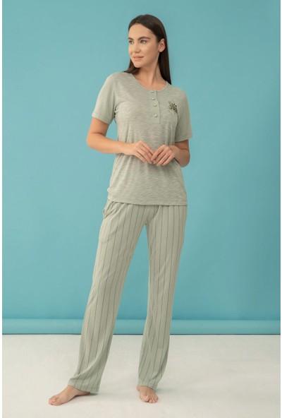Feyza 4055 Kadın Kısa Kol Pijama Takımı Yeşil - Xl