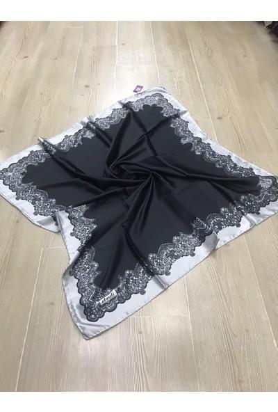 Ebruli Siyah Kristal Kenarı Desenli Eşarplar