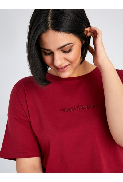 Faik Sönmez Slogan Detaylı Kısa Kol T-Shirt 61817
