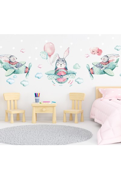 Sim Tasarım - SIM109 - Üçlü Pilot Tavşanlar Duvar Sticker Seti