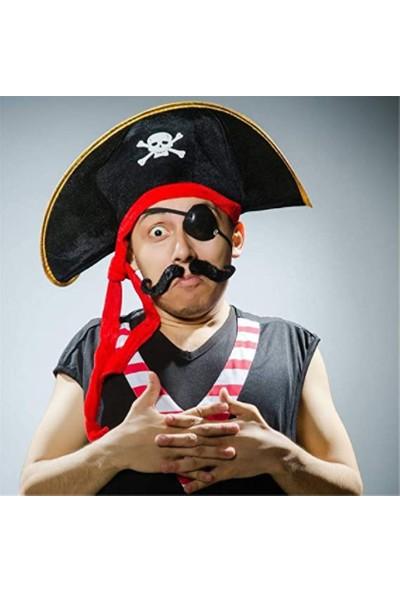 Samur Yetişkin Boy Kumaş Korsan Şapkası ve Plastik Korsan Göz Maskesi