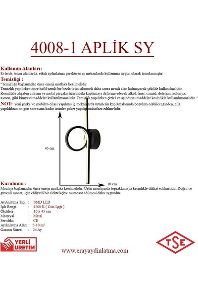 Eray Aydınlatma 4008-1 Siyah LED Aplik