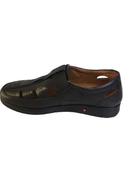 Punto 110M - 599317 Erkek Lastikli Hakiki Deri Siyah Ortopedık Sandalet Ayakkabı