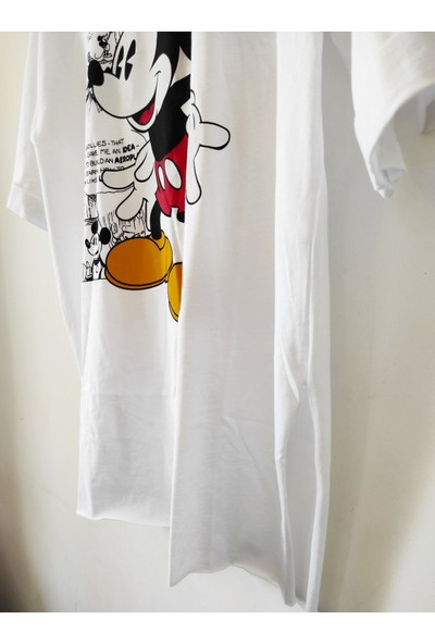 New Fashion Nev Fashion Mickey Baskılı Yanları Yırtmaçlı Tişört