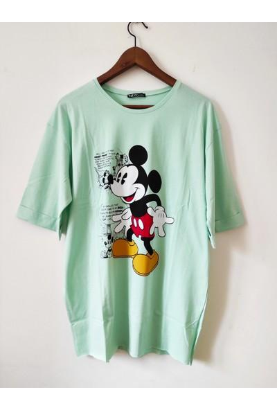 New Fashion Mickey Baskılı Yanları Yanları Yırtmaçlı Tişört
