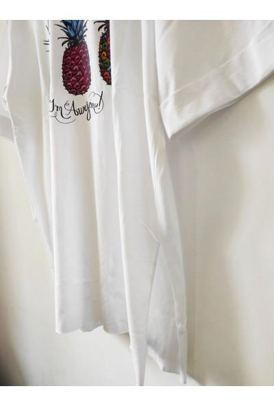 New Fashion Kuzey Fashion Ananas Baskılı Yanları Yırtmaçlı Tişört