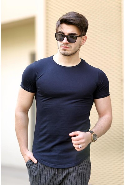 Cool & Wear Cool&wear 12103 Basic Oval Etek Lacivert T-Shirt