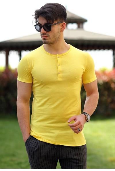 Cool & Wear Cool&wear 12102 Düğmeli Bisiklet Yaka Sarı T-Shirt
