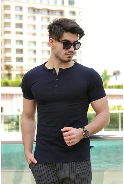 Cool & Wear Cool&wear 12102 Düğmeli Bisiklet Yaka Lacivert T-Shirt