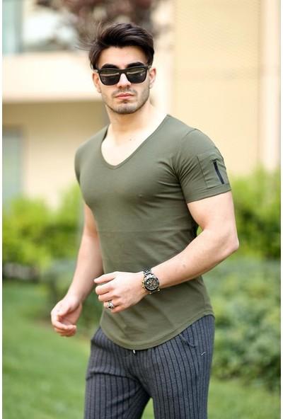 Cool & Wear Cool&wear 12101 Basic V Yaka Fermuar Detaylı Haki T-Shirt