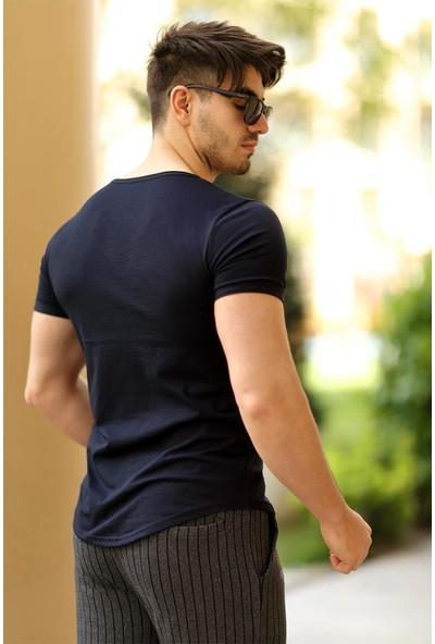 Cool & Wear Cool&wear 12101 Basic V Yaka Fermuar Detaylı Lacivert T-Shirt