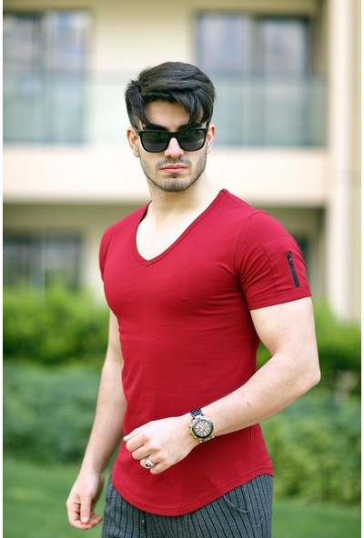 Cool & Wear Cool&wear 12101 Basic V Yaka Fermuar Detaylı Kırmızı T-Shirt