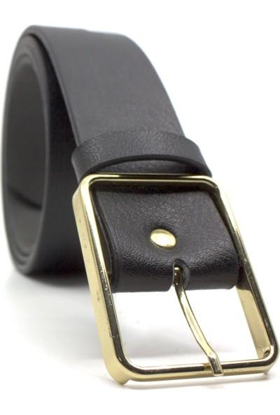 Çanta Sepetim Gold Tokalı Siyah Suni Deri Bayan Kemer