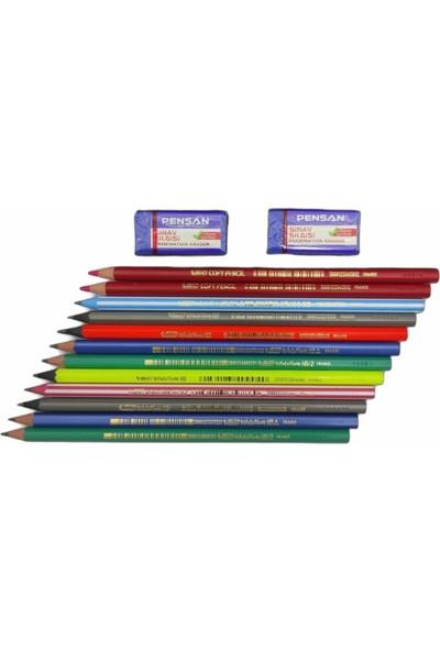 Bic Mercanlı Karışık Kurşun Kalem 12'li 2 Adet Pensan Sınav Silgisi