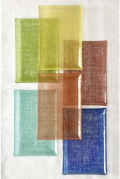 Sunu Rengim 6'lı Dikdörtgen Pasta & Kahvaltı Tabağı Seti 15 x 22 cm.