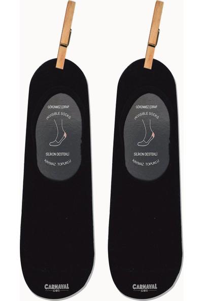 Carnaval Socks 6'lı Siyah Babet Renkli Kaymaz Slikonlu Babet Çorap