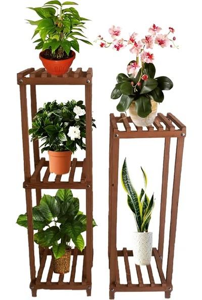 Ince Çizgi Store Ahşap Dekoratif 2'li Çiçek Standı MODEL32