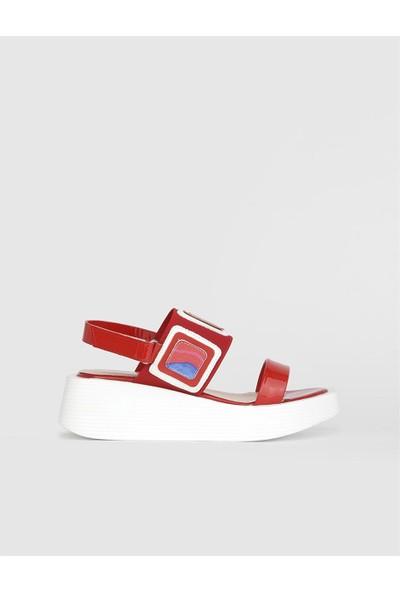 İLVİ Cherry Rugan Deri Kadın Kırmızı Sandalet