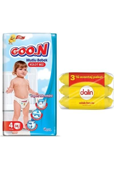 Goon Mutlu Bebek 4 Numara Külot Bez 38'li + Dalin Islak Havlu 3X56 Adet