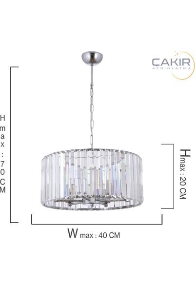 Çakır Aydınlatma Venüs Gümüş Krom 6'lı Sarkıt Avize 40 x 20 cm