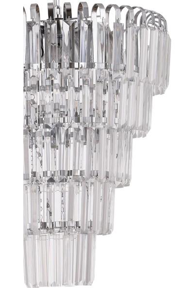 Çakır Aydınlatma Şelale 5 Katlı Kristal Taşlı Krom Gümüş 4'lü Sarkıt Avize
