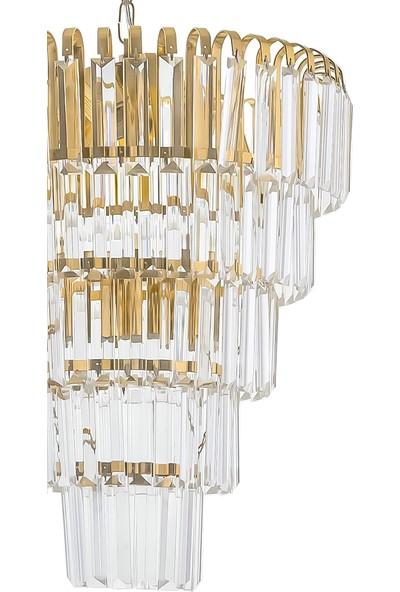 Çakır Aydınlatma Şelale 5 Katlı Sarı Altın - Gold 6'lı Kristal Taşlı Sarkıt Avize