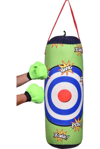 Ky Boks Çocuk Dolu Boks Kum Torbası ve Çift Box Eldiveni Hazır Askılı Model
