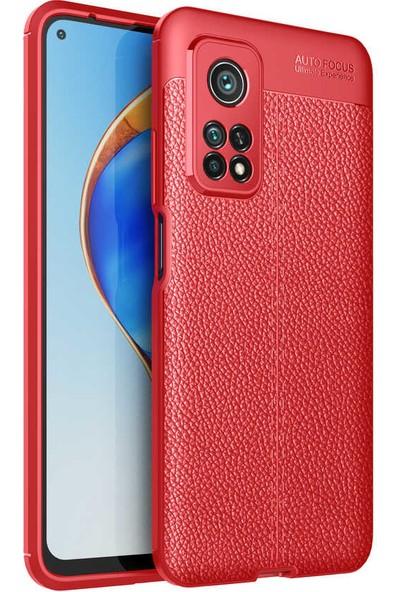 Nezih Case Xiaomi Mi 10T 5g (Deri Görünüm) Silikon Kılıf Kırmızı
