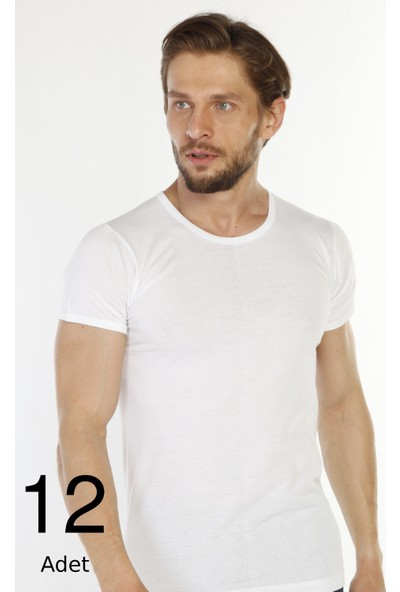 Tolin 12 Li Paket %100 Pamuk Beyaz O Yaka Erkek Süprem Fanila 314B