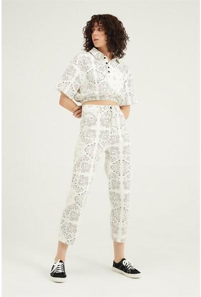 Kadın Çiçek Desenli Gabardin Pantalon Beyaz