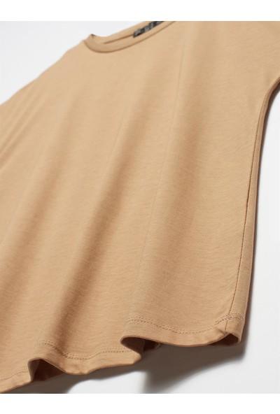 Kadın Bisiklet Yaka Penye Bluz-Koyu Camel