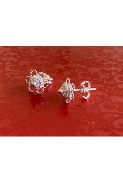 Bigakan Kadın Gümüş Telkari Çiçeği Gümüş Küpe