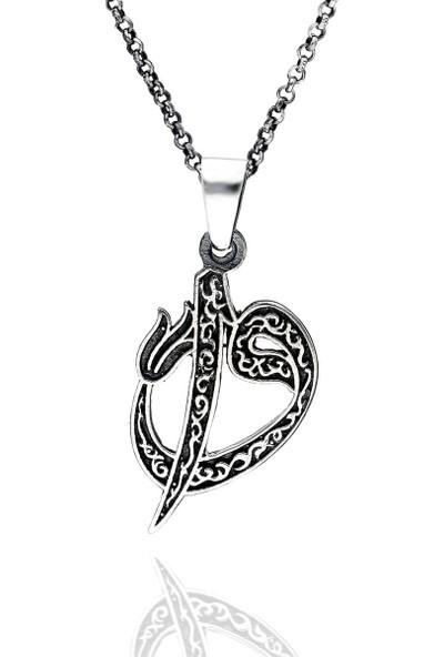 Trendy Takı 925 Ayar Gümüş Elif - Vav Motifli Kolye
