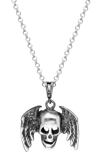 Trendy Takı 925 Ayar Gümüş Kanatlı Kuru Kafa Kolye
