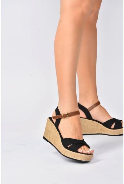 Fox Shoes Siyah Keten Dolgu Topuklu Kadın Ayakkabı K674195005