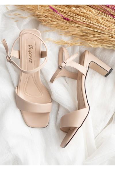 çaçaroz ayakkabı Topuklu Tek Bant Büyük Numara Bayan Ayakkabı