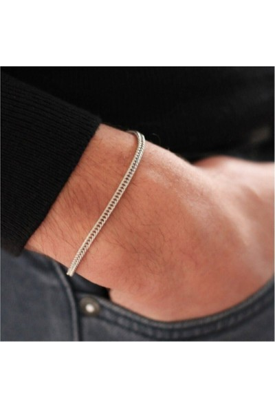 Cosibella Unisex Gümüş Renk Tilki Kuyruğu Zincir Bileklik
