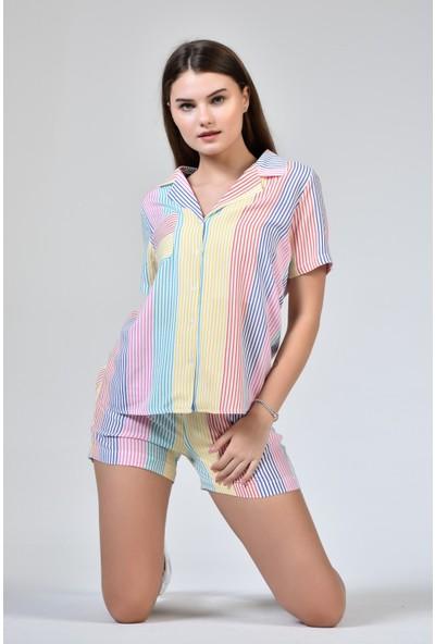 Rodi DS21YB666514 Çok Renkli Kadın Şortlu Çizgili Pijama Takımı