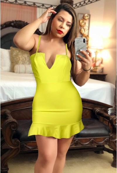 Ergü Neon Limon Sarısı Etek Altı Volanlı Kadın Elbise ERGÜ1430-1