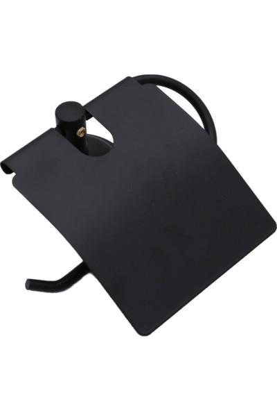 Alper Banyo Mat Siyah Kapaklı Kağıtlık