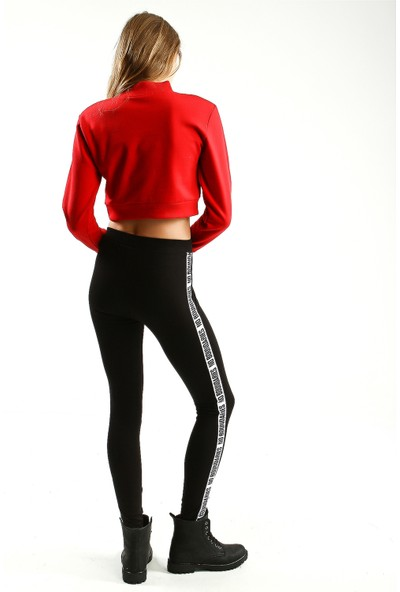 Collezione Kırmızı Yarım Balıkçı Yaka Uzun Kollu Crop Kadın Sweatshirt