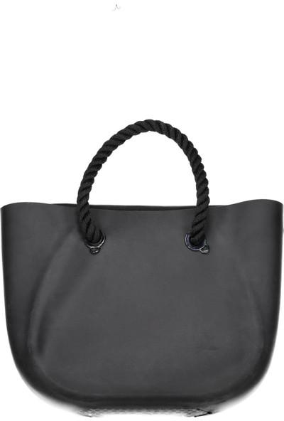 Collezione Siyah Halat Saplı Plastik Kadın Çanta