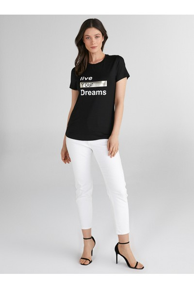 Faik Sönmez Slogan Baskılı Yuvarlak Yaka T-Shirt 62505