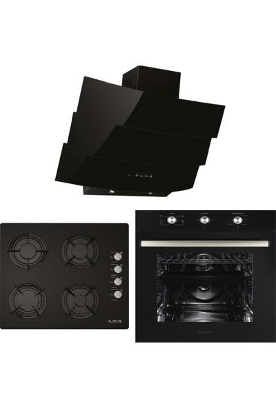 Alveus Century Siyah 3'lü Ankastre Set MODW-GLS640-MFA614
