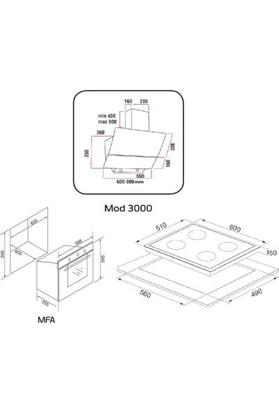 Alveus Chıef 604 Beyaz 3'lü Ankastre Set MOD3000-GLS640-MFA604